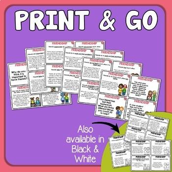 Friendship Cards Social Skills Prompts