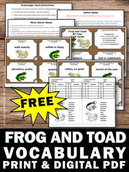 FREE Frog and Toad All Year Vocabulary Activities for 1st Grade