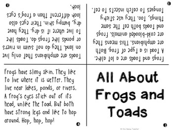FREE Frogs and Toads Mini Book and Graphic Organizer - PRINT AND GO!