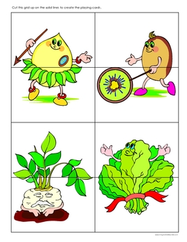FREE Fruit and Vegetables Top and Tail Game