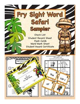 FREE Fry Sight Word Safari Sampler