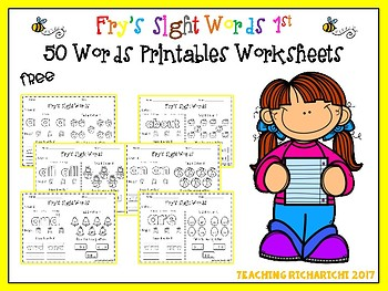 FREE Fry's Sight Words 1st 50 Words Printables Worksheets