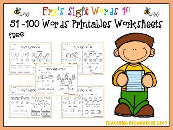 FREE Fry's Sight Words 1st 51-100 Words Printables Worksheets
