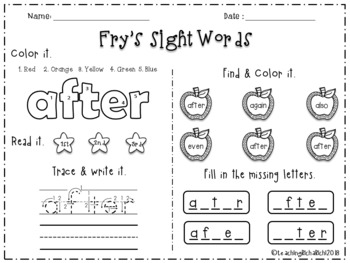 FREE Fry's Sight Words 2nd 1-50 Words Printables Worksheets