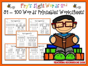 FREE Fry's Sight Words 2nd 51-100 Words Printables Worksheets