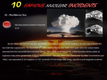"""FREE GRAPHIC ORGANIZER to use with """"Ten Ten Nuclear Incidents"""""""