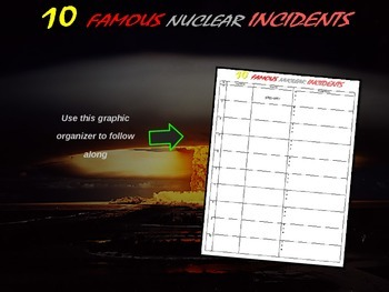 "FREE GRAPHIC ORGANIZER to use with ""Ten Ten Nuclear Incidents"""