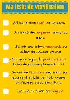 FREE! GRATUIT! Dossier d'écriture - Section 3 - Liste de vérification