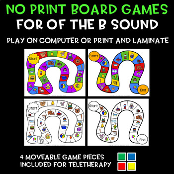 No Print Game Boards for Articulation of B in Words Speech Therapy Teletherapy