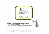 FREE Game Cards for Math BINGO includes TEMPLATE for 3 x 5 index cards