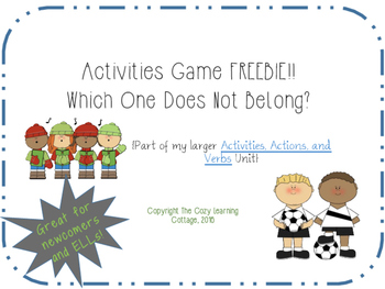 FREE Game- Which One Does Not Belong with Activities Vocabulary