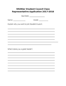 FREE General Student Council Application