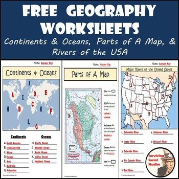 FREE Geography Worksheets ContinentsOceans USA Rivers  Parts