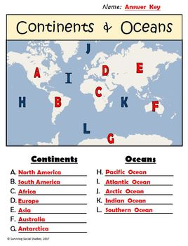 FREE Geography Worksheets: Continents/Oceans, USA Rivers, & Parts of a Map