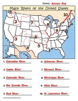 Geography Worksheets ContinentsOceans USA Rivers Parts Of A Map - Major rivers in usa map