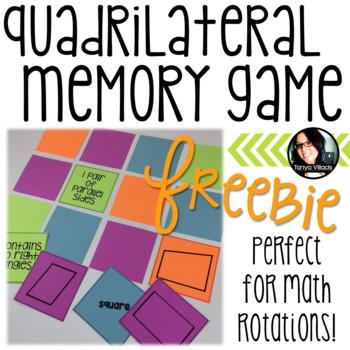 FREE Geometry Quadrilateral Memory Freebie Game Grades 4-5