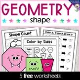 Shape Worksheets - Geometry Worksheets - Kindergarten / Grade One - FREE