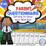 Getting to Know Your Child - Questionnaire for Parents - Back to School