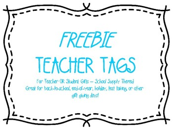 FREE Gift Tags - School Supply Themed