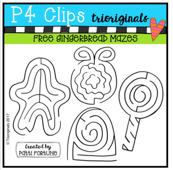 FREE Gingerbread Mazes (P4 Clips Trioriginals Clip Art)