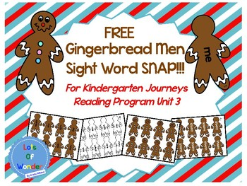 FREE Gingerbread Men Kindergarten Sight Word SNAP!!! Game
