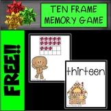 FREE Gingerbread Ten Frame Memory Game