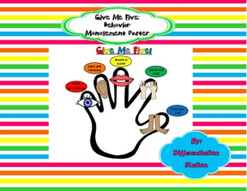 FREE!!  Give Me Five Behavior Management Poster