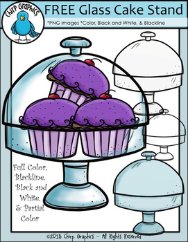 FREE Glass Cake Stand Clip Art Set - Chirp Graphics