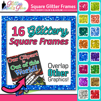 Square Border Clip Art | Rainbow Glitter Page Borders for Worksheets