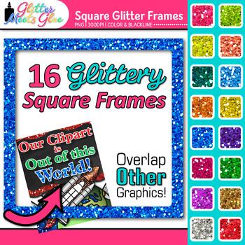Glitter Square Frames Clip Art - Clip Art Borders - Page B
