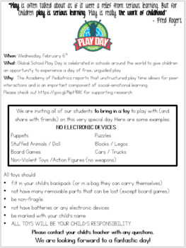 FREE Global School Play Day Parent Flyer & reminders