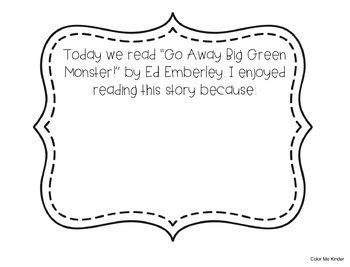 FREE Go Away Big Green Monster! Writing Prompt