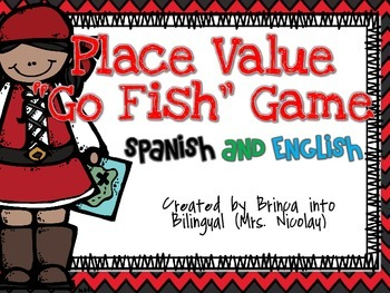 FREE Go Fish Place Value Game - Valor Posicional Spanish AND English