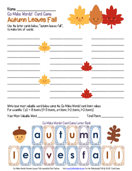 FREE!  Go Make Words! Autumn Leaves Fall - FUN Activity Sheet (color)