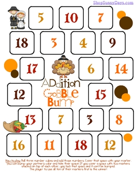 FREE Gobble Bump Math Game - Addition
