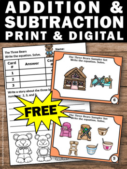 FREE Kindergarten Addition and Subtraction Goldilocks and the Three Bears Math