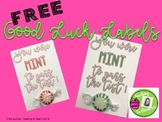 FREE Good Luck on Test Labels