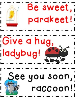 FREE Goodbye Phrase Cards