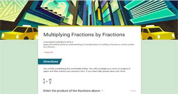 FREE Google Forms - Multiplying Fractions - Set of 5