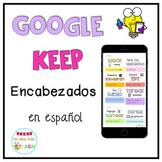 FREE Google Keep Headers Spanish