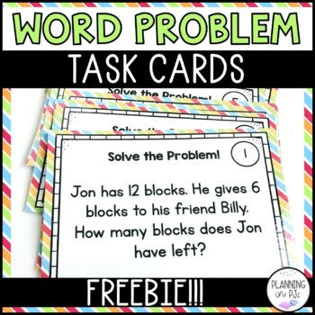 FREE Math Problem Solving Addition Subtraction Task Cards