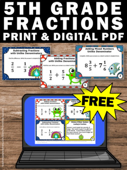 FREE Fractions Task Cards, 5th Grade Math Review, Fraction Word Problems