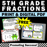 FREE Fractions 5th Grade Math Review Task Cards