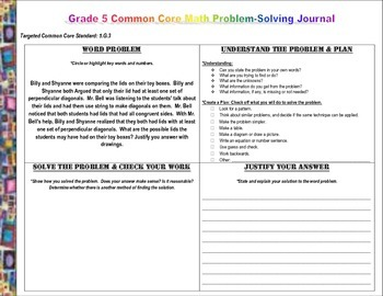 FREE Grade 5 Common Core Math Problem Solving Journal (Word Problems)