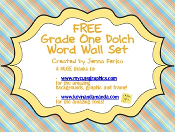 FREE Grade One Dolch Word Wall Set