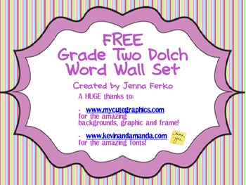 FREE Grade Two Dolch Word Wall Set