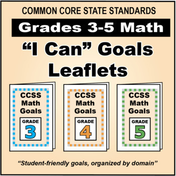 """FREE Grades 3-5 Math Goals Leaflets for Parents in """"I Can"""" Format"""