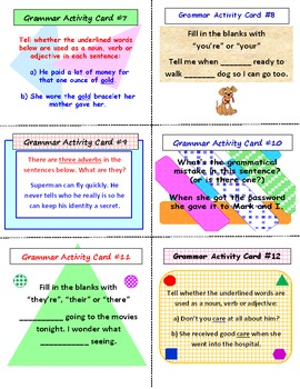 FREE Grammar Task Cards PREVIEW (36 Cards)