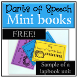 FREE Grammar activities Parts of Speech mini books (nouns, verbs, adj., & more!)