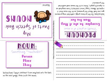 FREE Grammar activities Parts of Speech mini books (nouns, verbs, adj., & more!)